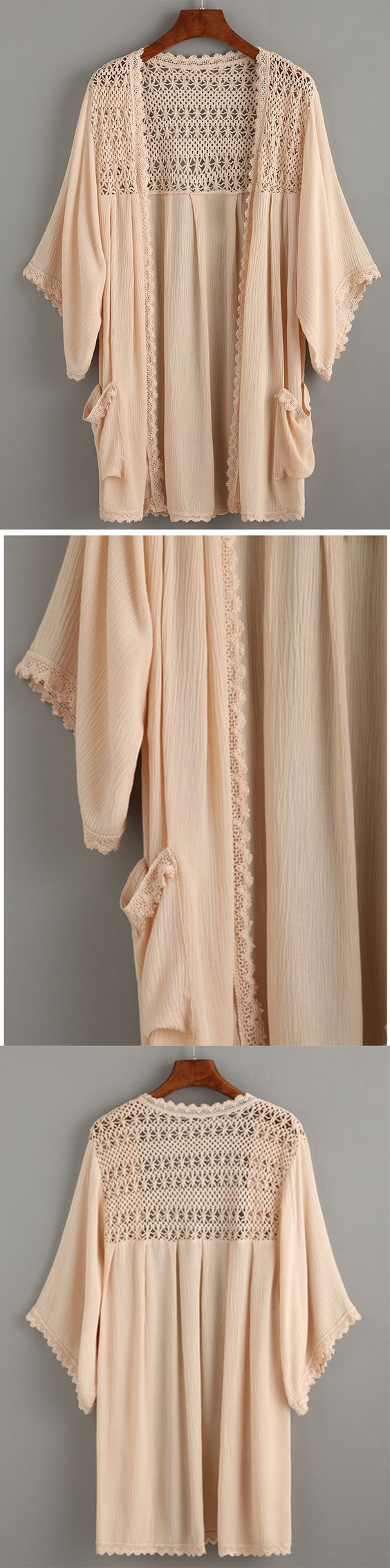 Apricot Crochet Hollow Out Kimono With Pockets