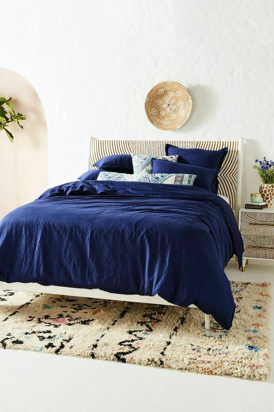 New Anthropologie Navy Blue Relaxed Cotton Linen Duvet Cover Full 86 X 90 Anthropologie Bedroom Rug Placement Bed Linens Luxury Bed Linen Design