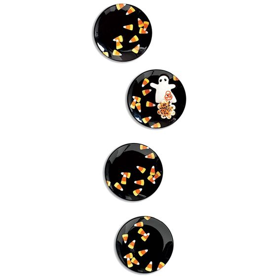 Candy Corn Appetizer Plates, Set of 4