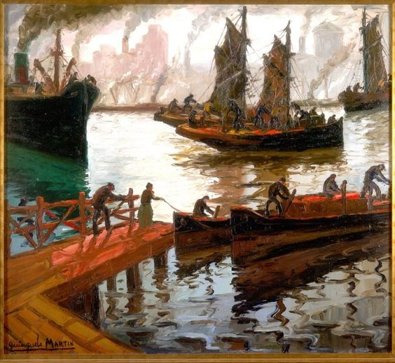 "Benito Quinquela Martín, ""Llegada de veleros"" óleo 90 x 100 cm."