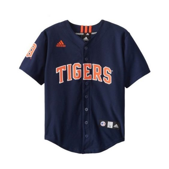 MLB Detroit Tigers Boy's Screen Printed Team Color Baseball Jersey ($40) ❤ liked on Polyvore featuring tops