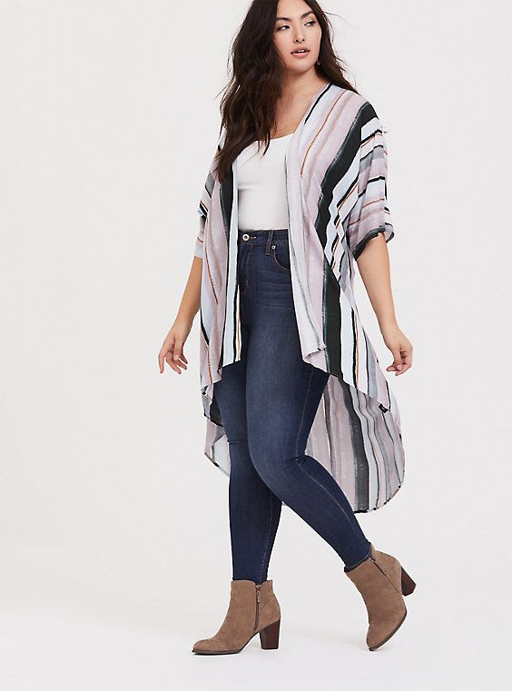 Plus Size Black Multi Stripe Challis Duster Shirt Kimono