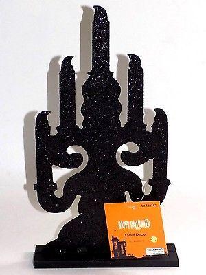Black Candleabra Halloween Tabletop Decor - Glitter Party Decoration