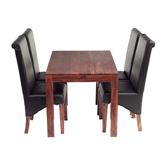 Cube Sheesham Dining Set With 4 Leather Chairs Wooden Dining