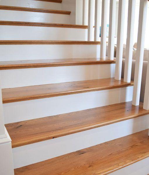 Rustic White Oak Plank Flooring Staircase Design Hardwood | White Oak Stair Treads Near Me | Hardwood Flooring | Quarter Sawn | Lowes | Wood | Staircase Railings