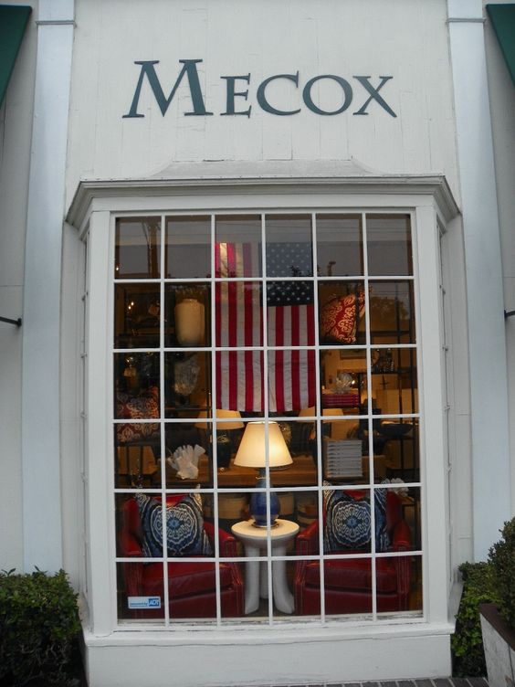 Patriotic themed #window #display complete with #flag for this #July4th at #LA #Mecox #interiordesign #LosAngeles #MecoxGardens #furniture #shopping #home #decor #design #room #designidea #vintage #antiques #garden