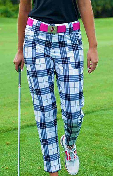 Black Plaid JoFit Ladies Belted Cropped Golf Pants at #LorisGolfShoppe
