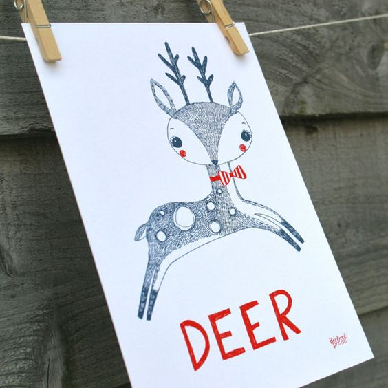 This whimsical A4 print of DEER, is hand drawn with fine-line pen and scanned into Adobe illustrator to create his colouring. Very cute and super
