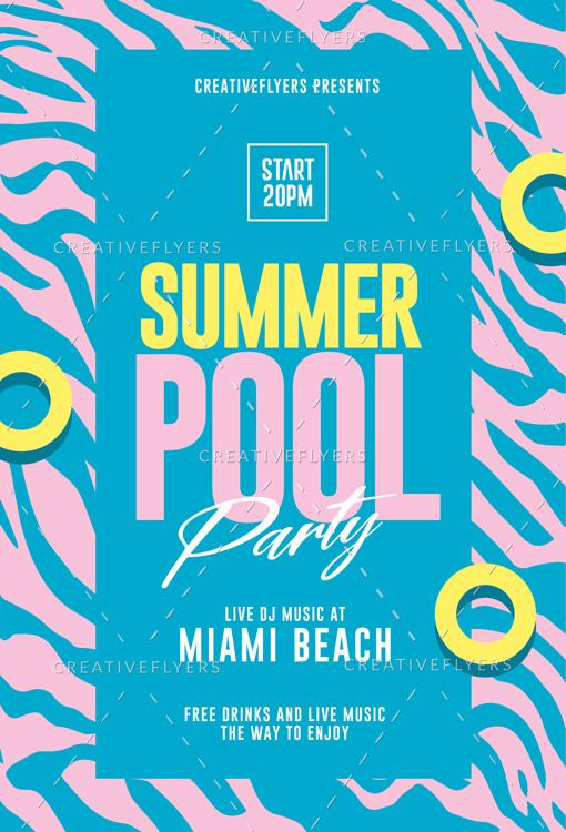 Summer Pool Party Flyer Template Pool Parties Flyer Party Flyer