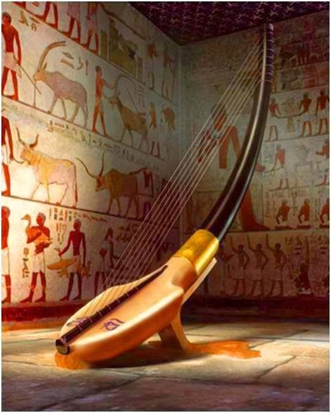 Digital artistic rendering of a harp musical instrument within an ancient Egyptian tomb setting.
