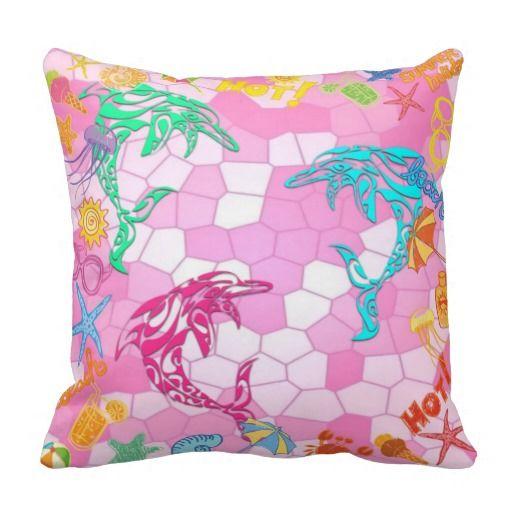 Fun Cushion for the Kids - Beach, Dolphins, Summer Throw Pillows
