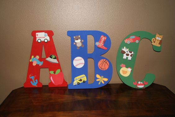 A better view of the ABC letters I made.  All the items on the A start with the letter A, and so forth.