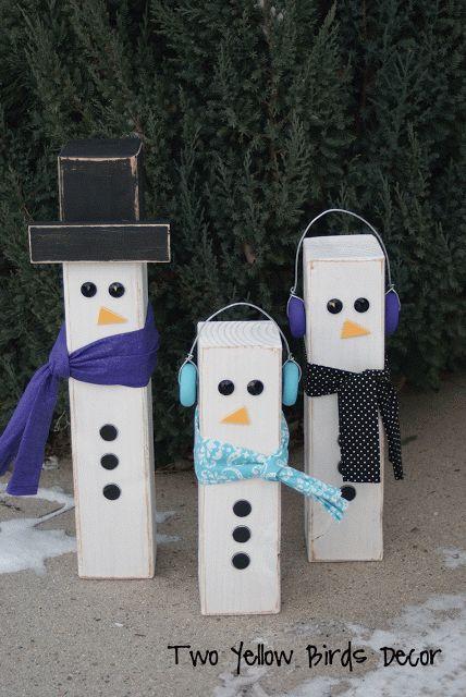 Two yellow birds decor 4x4 snowmen tutorial christmas for Decoration 4x4