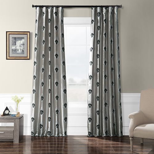 Rose Street Embroidered Faux Silk Rod Pocket Silver 50 X 120 Inch Curtain Single Panel Bellacor Panel Curtains