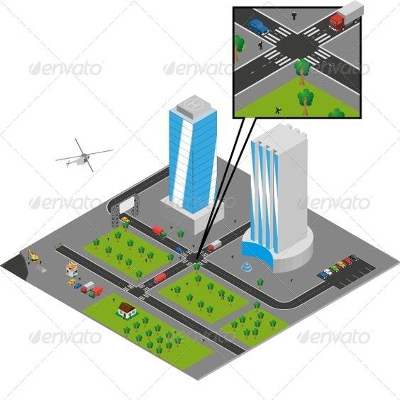 Isometric City Vector  #GraphicRiver