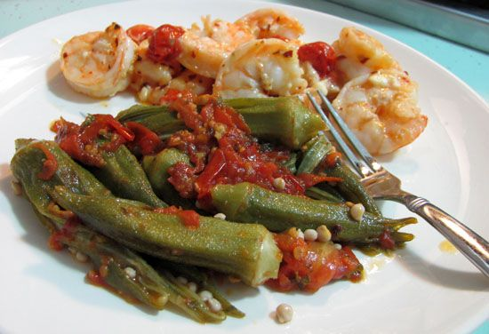 Steamed Okra and Tomatoes  add one medium onion, rough chopped  I prefer my okra sliced into 1/2 inch slices. Fresh okra is best, but frozen is okay.