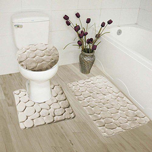 Gorgeoushome 3pc Beige Rock Design Embossed Bathroom Set Bath Mat