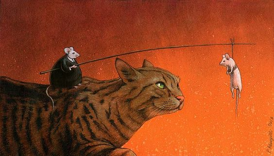Who's the bait? A cat and mouse cartoon by Polish artist Paweł Kuczyński. Click through for more.: