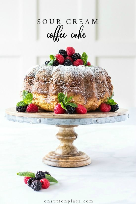 Quick And Easy Sour Cream Coffee Cake Recipe That Uses Basic Ingredients From Your Pantry Baked In A Bu Sour Cream Coffee Cake Coffee Cake Recipes Coffee Cake