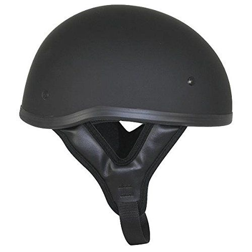 DOT Flat Black Motorcycle Skull Cap Half Helmet - Large