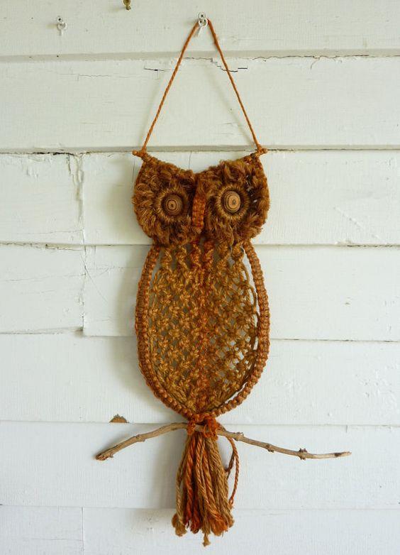 Macrame owl, Macrame and Vintage on Pinterest