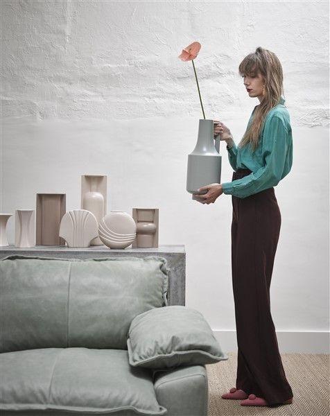 Retro Sofa 3 Sitzer Sofa Leder Mintgrun Deens Banken Couches 3sitzersofa Banken Couches Deens Leder Mintgrun Retro Green Vase Vase Ceramic Vase
