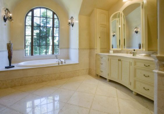 Floor tiles gallery gallery bathrooms hb crema marfil for Crema marfil bathroom designs