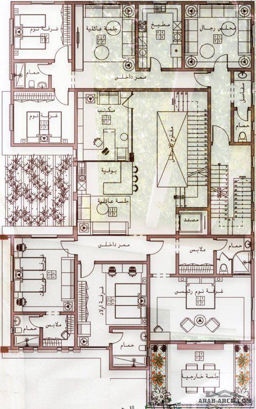 احدث تصميم فيلا دورين و ملحق مع شقق خلفية من اعمال Egyrevit 20x30 House Plans Guest House Plans Family House Plans