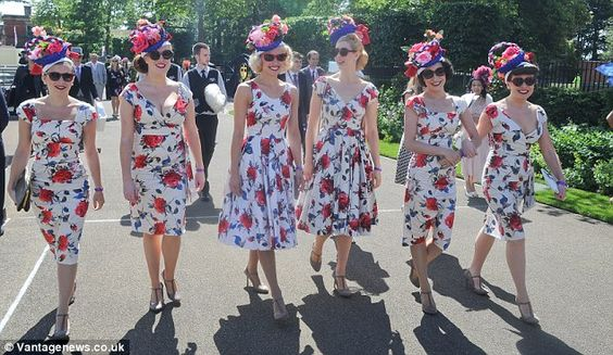 Flower power: Group of girls in matching floral dresses and headpieces