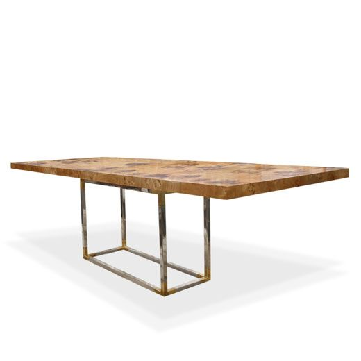 Jonathan Adler Bond Dining Table.  Metal base, wood top - check  Patterned/imperfect top for family friendly use - check  Centered base for maximum leg room - check  Expandable to fit 10-12 - check  This is the table.  Now to find the money