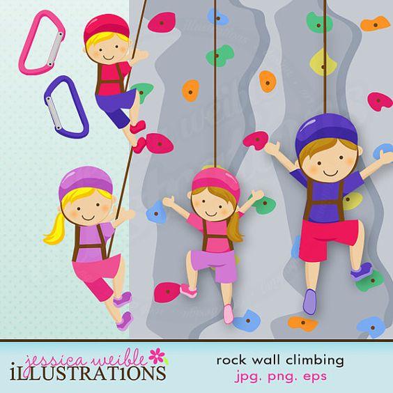 Rock Wall Climbing Girls Cute Digital Clipart - Commercial ...