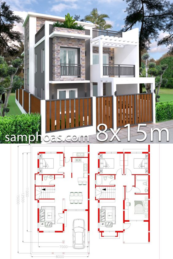 Home Design Plan 7x11m Plot 8x15 With 4 Bedrooms Samphoas Plan House Construction Plan House Layout Plans Architectural House Plans