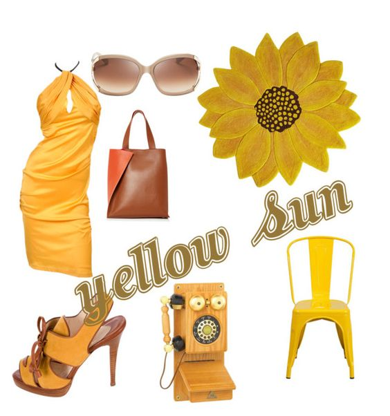 """sole giallo"" by nadiacetto on Polyvore featuring Paule Ka, Tom Ford, Pier 1 Imports, Christian Louboutin, Kate Spade and Flash Furniture"