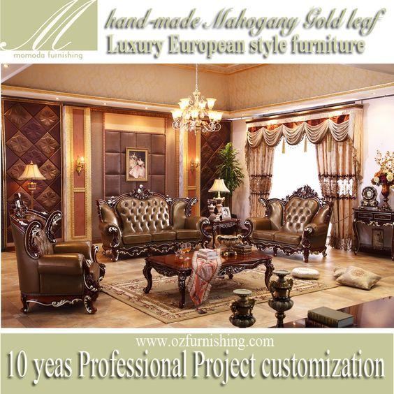 KB089 italiano top real couro grosso estilo Europeu de madeira maciça antigo barroco de luxo sala de estar sofá conjunto de móveis…