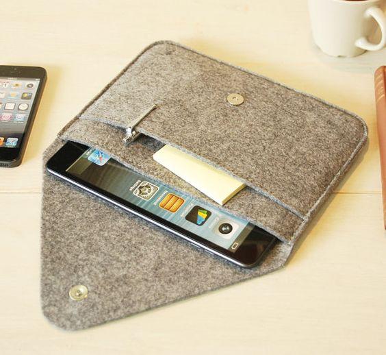 iPad Mini Sleeve / iPad Mini Case / iPad Cover in Mottled Grey- with Pocket-grey…