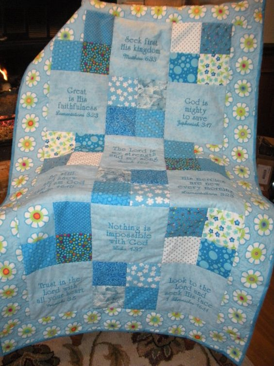 Embroidered Scripture Quilt Quilt Scriptures And Etsy