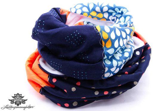 Loop von #Lieblingsmanufaktur: marineblau, orange, weiß