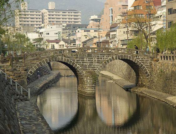 めがね橋 ハートストーン やなせたかし|長崎の手彩色絵葉書 - Antique Hand-Tinted Postcards of Nagasaki -