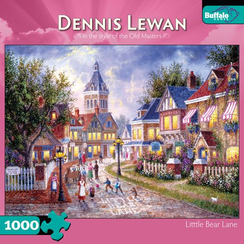 """""""Little Bear Lane"""" 1,000 Piece Buffalo Games Puzzle: Dennis Lewan relies on his extensive collection of references, accumulated over some twenty years, to capture the nostalgic lifestyle of the 18th and 19th centuries. #Puzzle #IAmAPuzzler #BuffaloGames #DennisLewan"""
