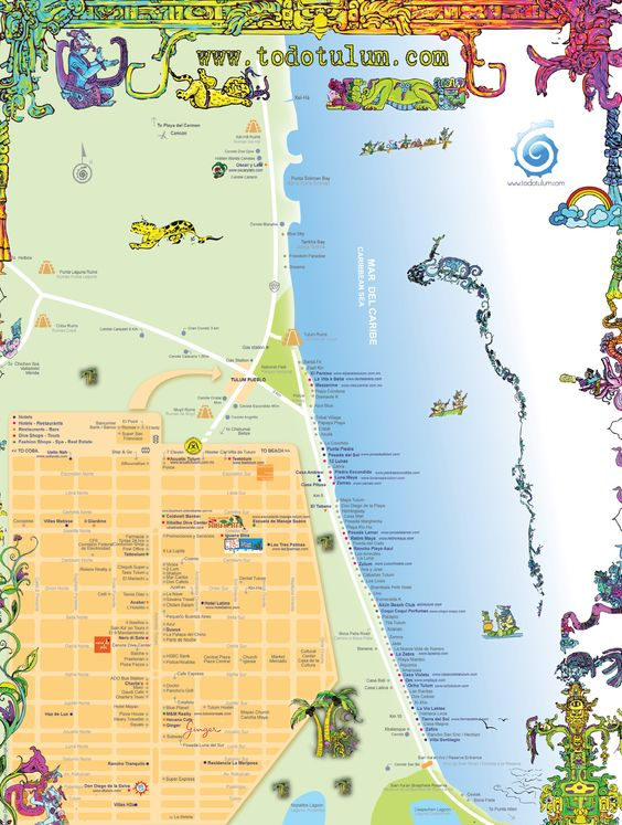 Tulum Tourist Map - Tulum Mexico • mappery  Things to do! http://www.dreamsresorts.com/tulum