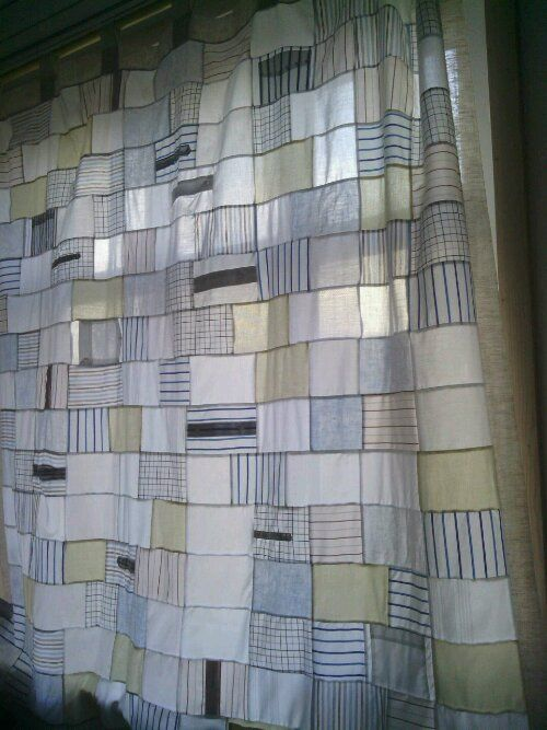 Patchwork curtains made from recycled shirts from roued.com