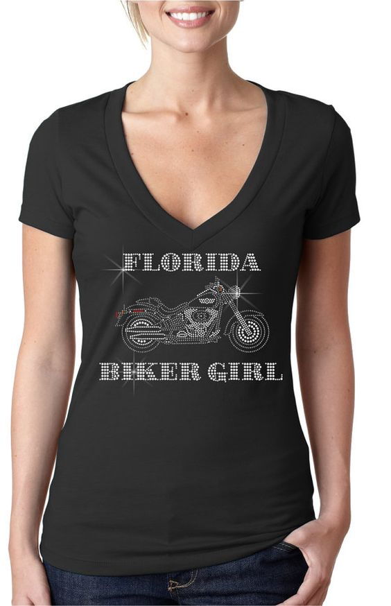 bling rhinestone '' Florida Biker Girl by CrystalTrendsDesigns