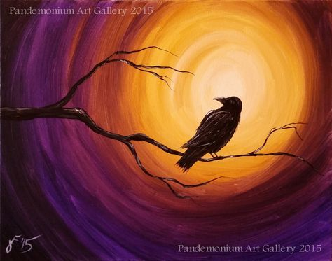 In This Video I Ll Be Showing You How To Paint A Raven On A Branch With A Spooky Background To Ge Halloween Canvas Paintings Night Painting Halloween Painting
