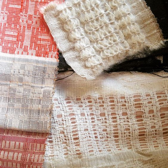 """""""Our intern @jessicamordine is an incredible weaver. Here are some of her beautiful weaving samples. Jessica is a dual major in Fiber and Material Studies…"""""""