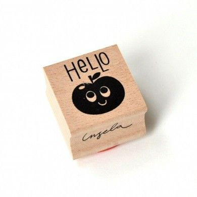 Wooden rubber stamp Hello by Ingela P Arrhenius * www.the-pippa-and-ike-show.com