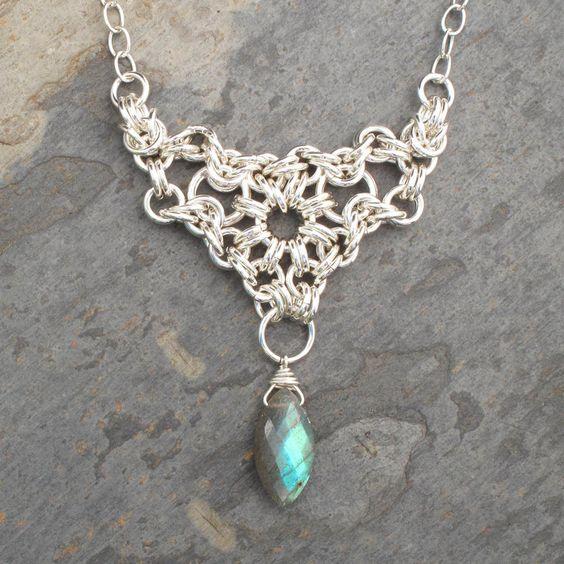 Sterling Silver Labradorite Chainmaille Necklace - Byzantine Sunburst. $115.00, via Etsy.