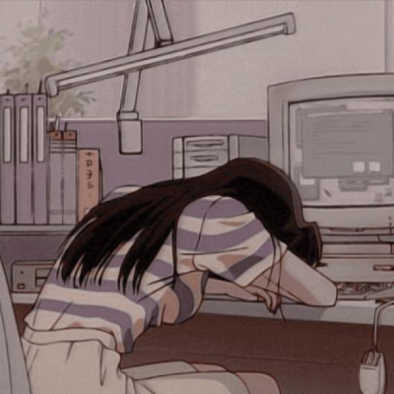 صورة كرتونية لفتاه حزينة وتبكى