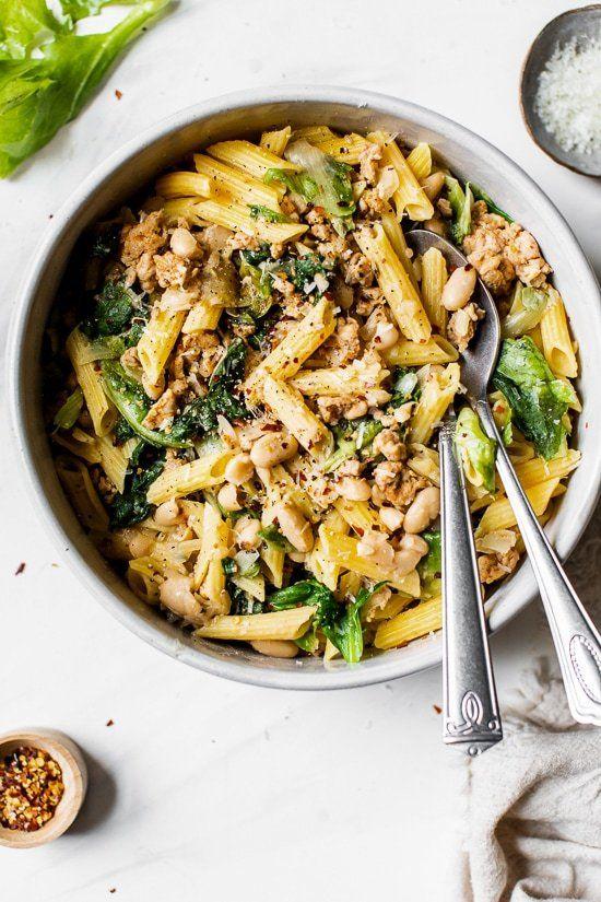 Pasta With Italian Chicken Sausage Escarole And Beans Recipe Italian Chicken Sausage Chicken Sausage Recipes Chicken Sausage