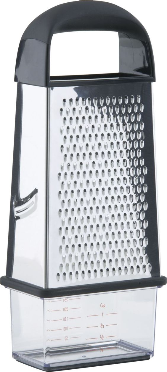OXO® Box Grater    Crate and Barrel Something like this I could really use.  Calliflower, or cheese...I like the catch at the bottom.  hopefully I could find one with different size holes...