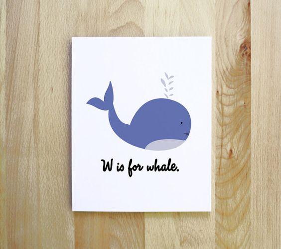 W ist für Whale Wald nautische Tier Cameo Abbildung von feb10design